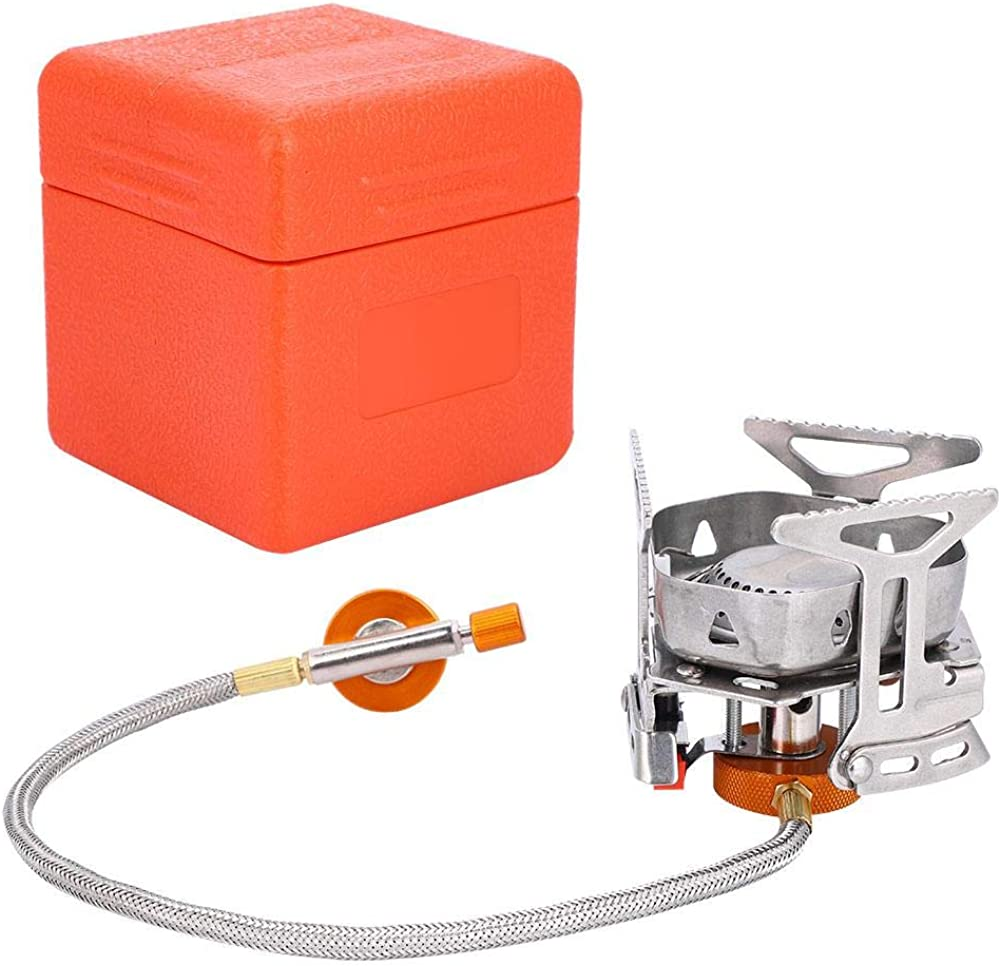 Dilwe Camping Gas Stove, Windproof Mini Camping Stoves Portable Folding Furnace Picnic Cooker Burner with Plastic Box for Outdoor Cooking Picnic