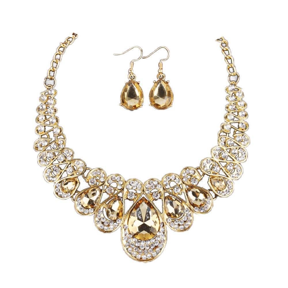 Necklace Jewelry Making,Women Fashion Crystal Necklace Jewelry Statement Pendant Charm Chain Choker,Yellow