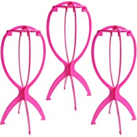 Dreamlover 3 Pack 14.2'' Short Wig Stands for Wigs, Portable Collapsible Wig Dryer, Durable Wig Display Tool, Travel Wig Stands, Hot Pink