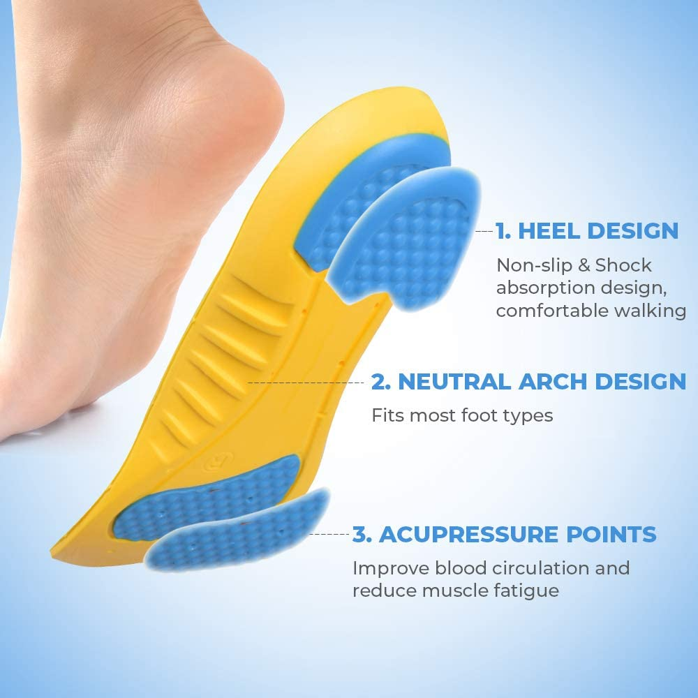 espfree Shoes Insoles Sports Insoles Shock Absorption Plantar Fasciitis Insoles Orthotic Heel Pain Relief Memory Foam Inserts Men /& Women