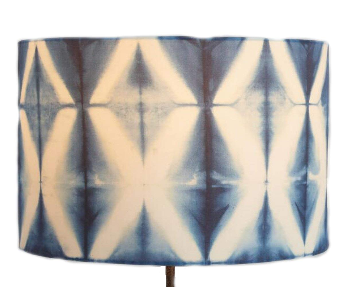 Drum Table Lamp Shade Indigo Shibori Print with Geometric - Crafted of Cotton and Polyester - 13''Dia. x 10''H