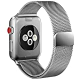 Apple Watch Band, Replacement Strap with Stronger Magnetic Closure For Apple Watch Band 38mm Series 3/2/1 Sport and Edition (38mm silver)
