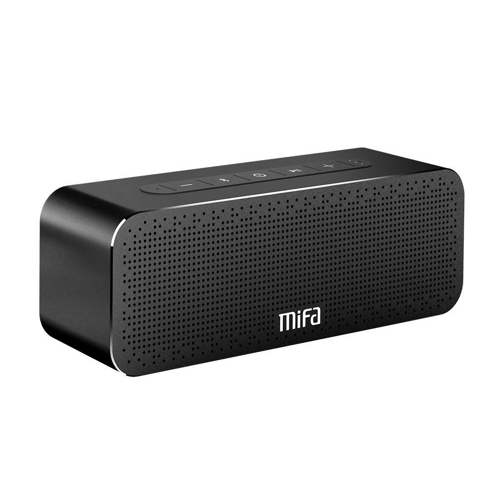 MIFA SoundBox Altavoz Portátil Bluetooth 30W Todo en Aluminio Subgrave Potente, 4000mAh de Litio Recargable, Tecnología TWS y DSP Sonido Stereo & Bass, Tarjeta de microSD, AUX-IN, Negro