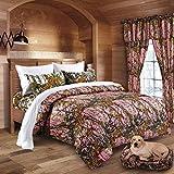 20 Lakes Woodland Hunter Camo Comforter, Sheet, Pillowcase Set (Queen, Pink & White)