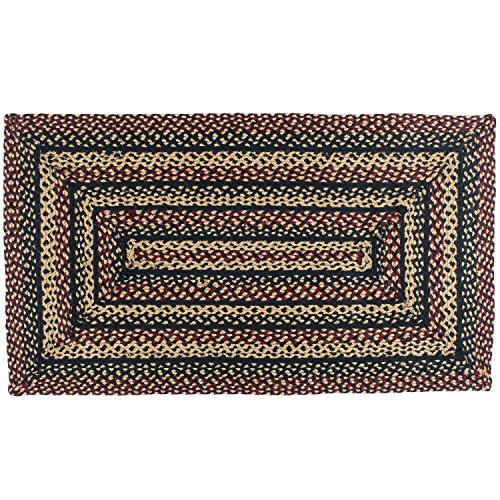 IHF Home Decor BlackBerry   Rectangle Braided Area Rugs for Outdoor, Indoor, Porch, Dormitory, Farmhouse, Garden   100% Natural Jute Material Doormat - Accent Floor Carpet Diameter 8' x 10' (Furniture Garden Bright Coloured)