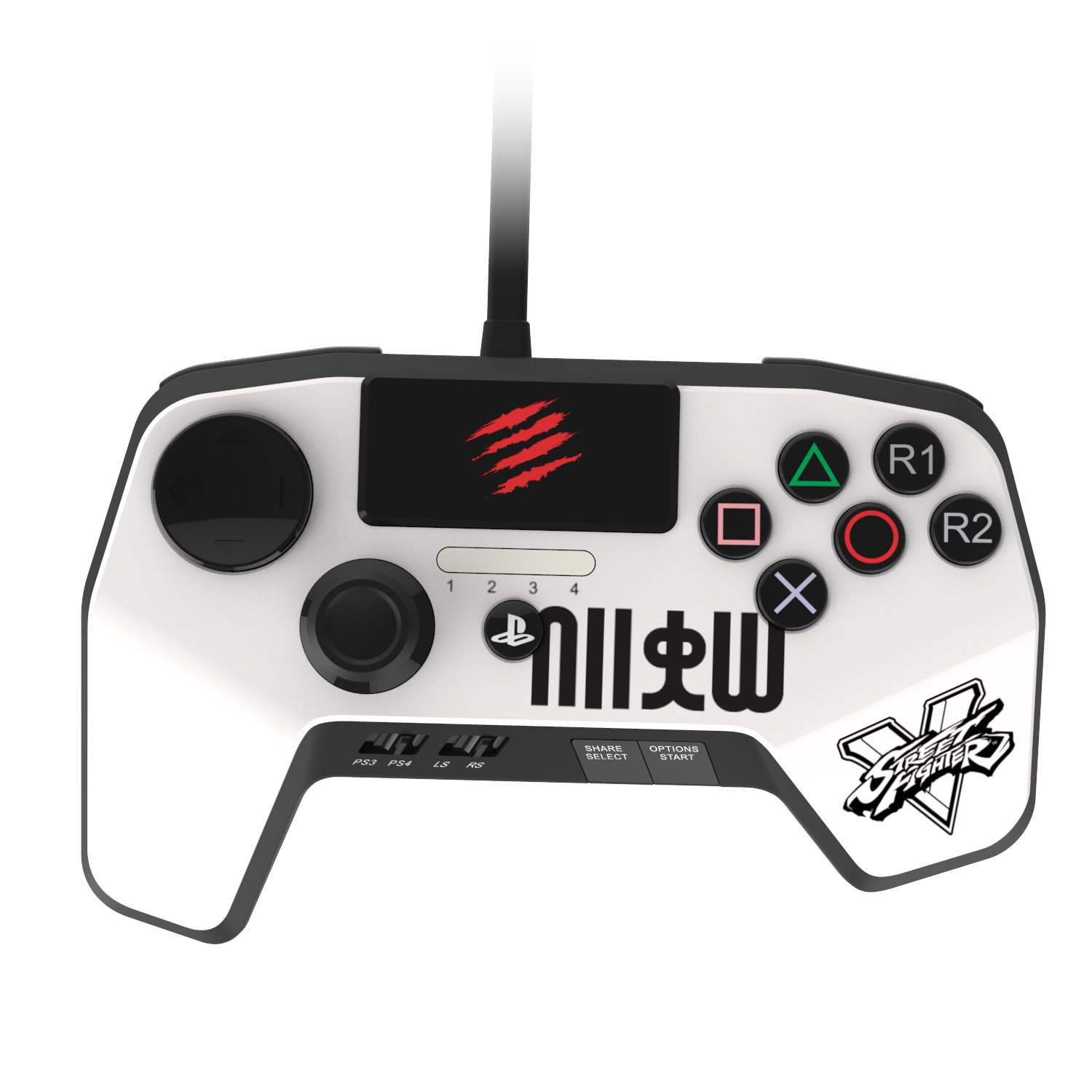 Mad Catz Street Fighter V FightPad PRO for PlayStation4 and PlayStation3 - White by Mad Catz: Amazon.es: Videojuegos