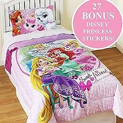Palace Pets Twin Comforter Set Disney Princesses Sweet Pet Friends Bedding Plus Bonus Wall Stickers