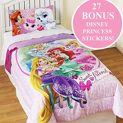 Palace Pets Twin Comforter Set Disney Princesses Sweet Pet Friends Bedding Plus Bonus Wall Stickers Friends Twin Comforter