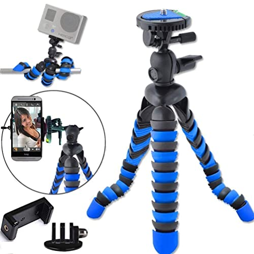 "Surom Universal 12"" Inch Digital SLR Flexible Tripod Wrapable Legs Quick Release Plate for GoPro HERO 1 2 3 3+ 4, iPhone,Samsung,Huawei,Xiaomi Smartphone+GoPro Tripod Mount+Cell Phone Tripod Adapter"