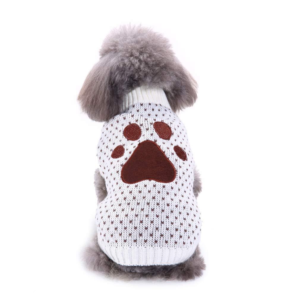 Navidad de Mascota Ropa Invierno para Perro Pequeños Suéter Perritos Abrigo Chihuahua Mascotas Accesorios Estampado de Huella de Perro Gusspower autumn-wind