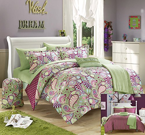 Chic Home 10 Piece Princess Paisley and Polka Dot Printed Reversible Comforter with Sheet Set, Full, Green