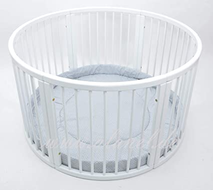 /Ø 120cm Very Large Wooden Baby PLAYPEN with PLAYMAT Grey
