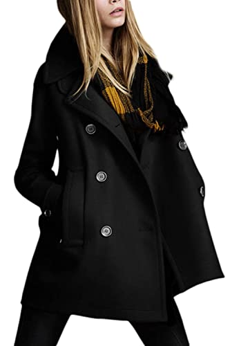 Las Mujeres Elegantes Classic Long Sleeve Lapel Collar Doble Breasted Chaqueta Outwear
