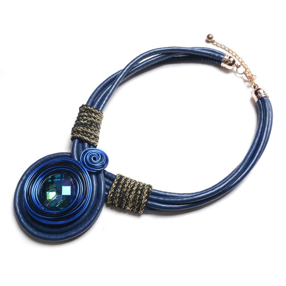 Thkmeet Vintage Handmade Leather Rope Choker Chunky Statement Necklace Rhinestone Ethnic Jewelry (Blue)