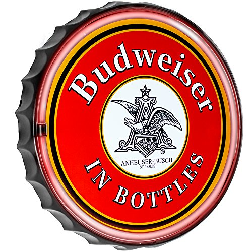 New Improved  Budweiser Anheuser Busch In Bottles Cap Shaped Led Sign  Now With 6 Wall Plug Cord  Led Light Rope That Looks Like Neon  Wall Decor For Bar  Garage  Or Man Cave