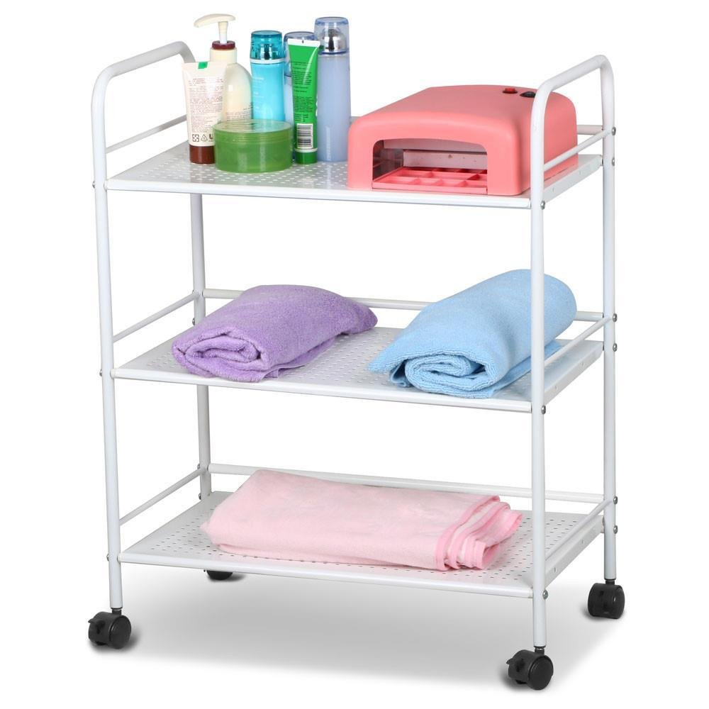 Popamazing 3 Shelf Salon Trolley Cart Spa Storage for Hairdresser Furnishings Castors Free Movement,59 x 32 x 75cm