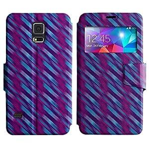 LEOCASE línea diagonal Funda Carcasa Cuero Tapa Case Para Samsung Galaxy S5 I9600 No.1005091