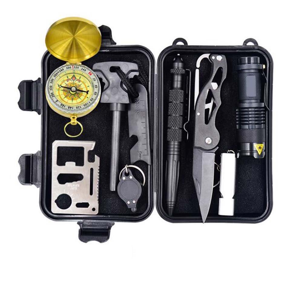 アウトドアサバイバルツール、アウトドアツール機器、トラベルアドベンチャーライフセービングキット、トラベルアウトドア機器ライフセービングキット、マルチファンクションフィールドファーストエイドキットSOS緊急救助用品 B07D5F3XKY
