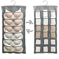 Hottong Hanging Storage Bags Mesh Pockets Dual Sided Closet Organizer with Metal Hanger for Bra Underwear Underpants…