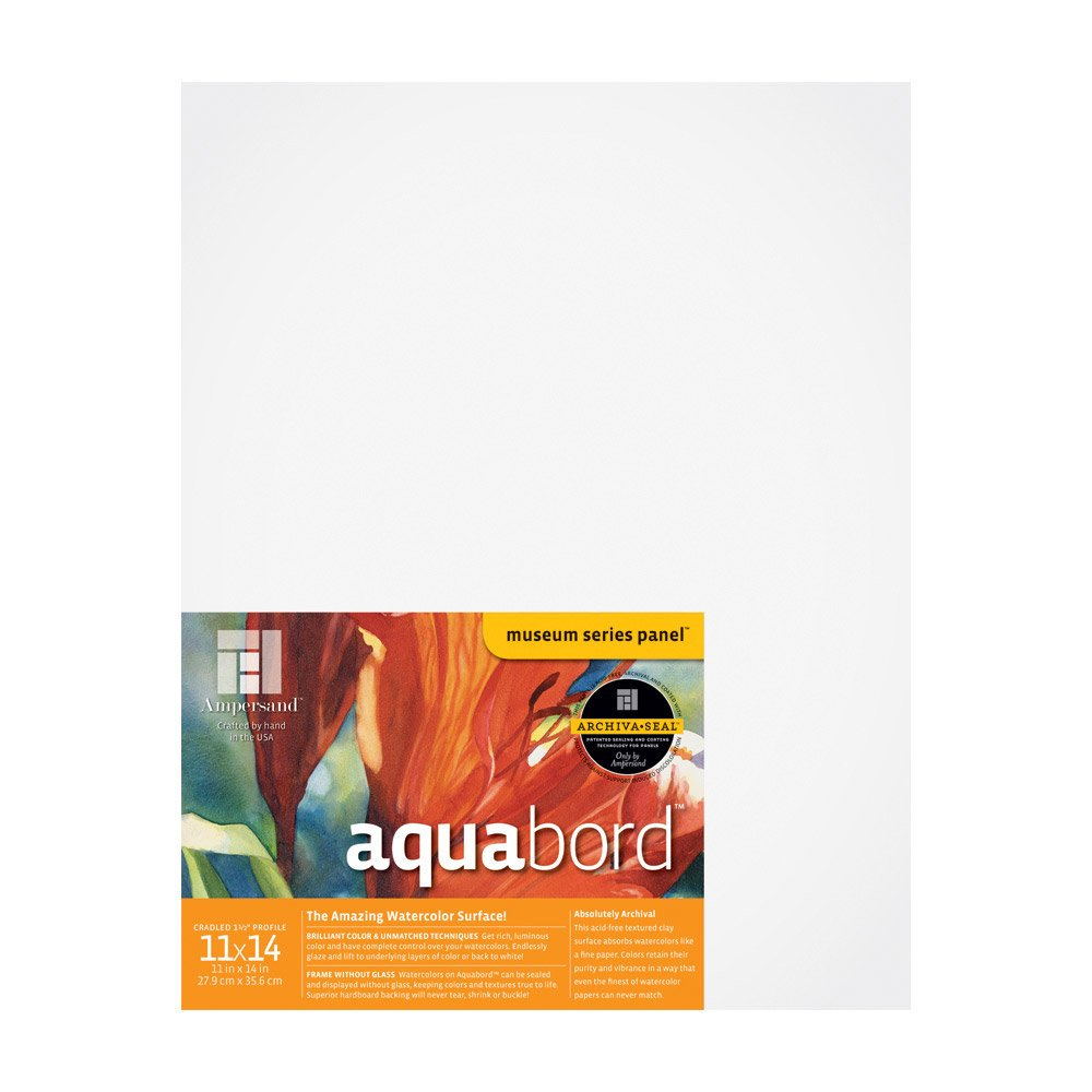 Ampersand Aquabord Panel for Watercolor and Gouache, 1.5 Inch Cradled Profile, 11X14 Inch (CBTG1114)