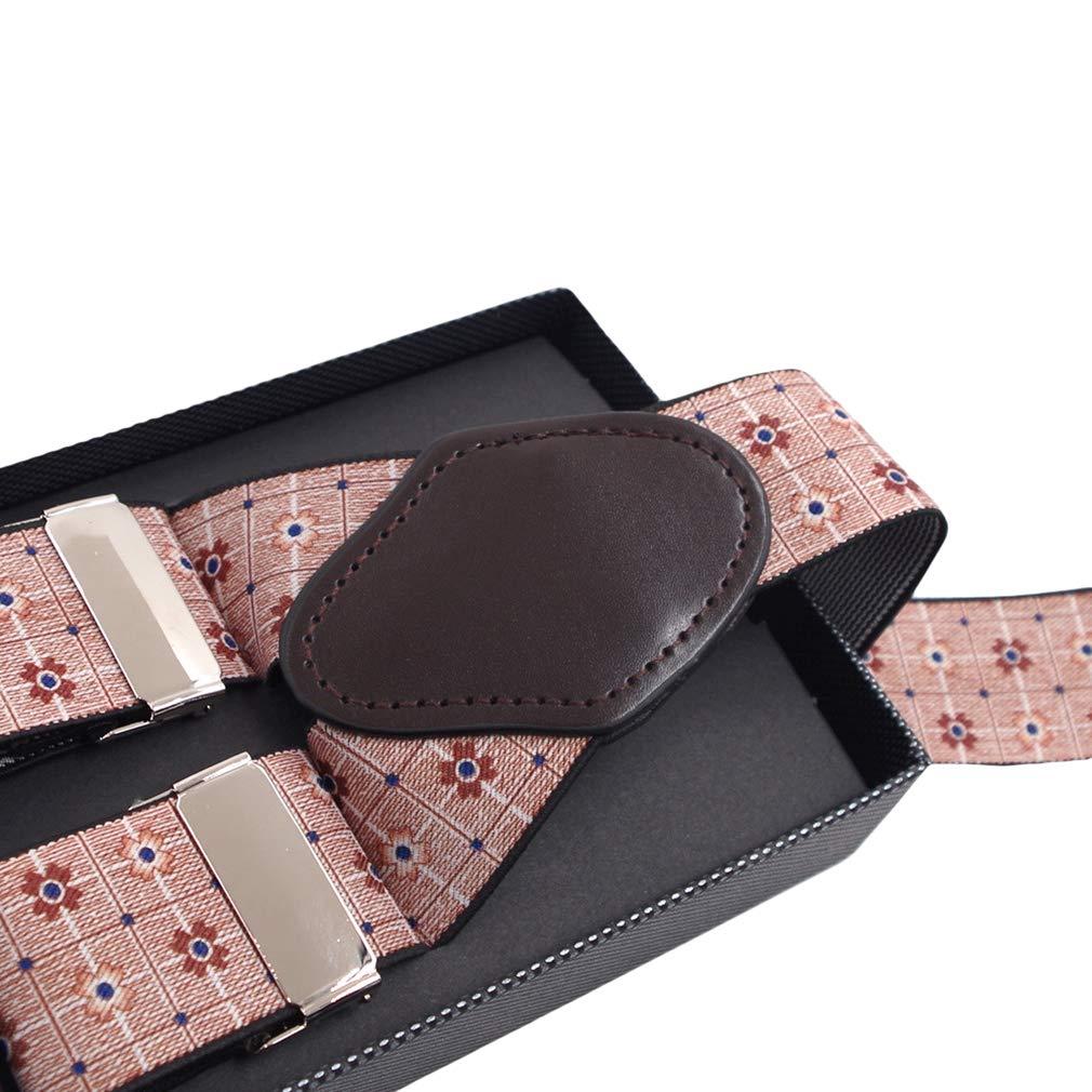 Flowers Y Shape Suspenders for Men 1.4Width 49Long Heavy Duty Braces/&6 Clips