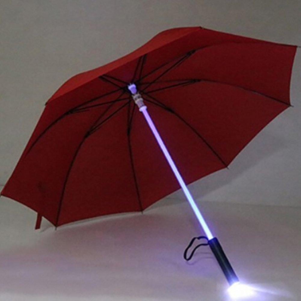 ESHOO Parapluie LED, Parapluies Lumineux Transparent pour la protection nocturne avec 7 couleurs