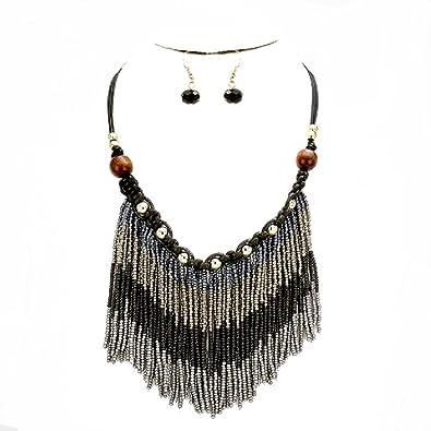 d5896110532d Tribal Boho Chic cuentas flecos gris de Color negro plata trenzado de  cuentas de madera de Bohemia declaración collar  Amazon.es  Joyería