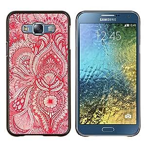 KLONGSHOP // Cubierta de piel con cierre a presión Shell trasero duro de goma Protección Caso - Papel pintado rojo floral blanca flor florece - Samsung Galaxy E7 E700 //