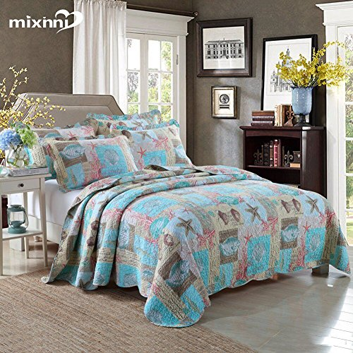 Beach Theme 3-Piece Cotton King Quilt Set With Blue Seashell Pattern Lightweight&Reversible Bedspread and Coverlet by mixinni by mixinni
