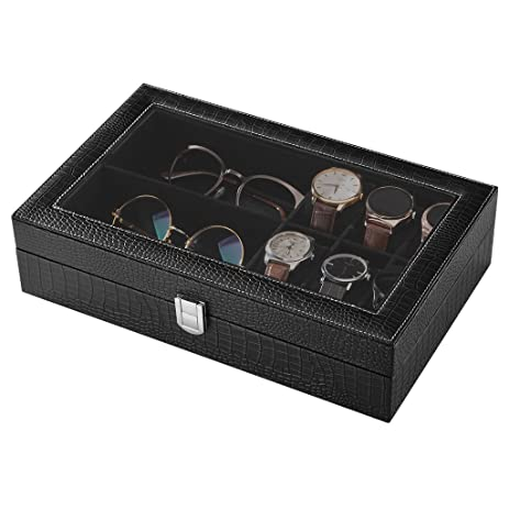 Amazoncom LANGRIA PU Leather Watch Jewelry Box Sunglass Display