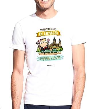 Missborderlike - Camiseta Hombre - Comiendo y bebiendo en Zaragoza es que uno se lo goza: Amazon.es: Ropa y accesorios