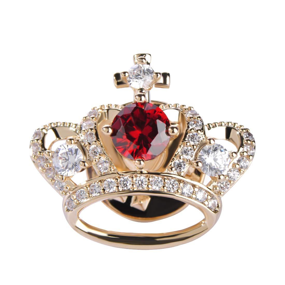 4679d30c8e3 MECHOSEN Copper Metal Brooch Pins Real Zircons Royal Princess Queen Crown  B0719Q8BHB_US