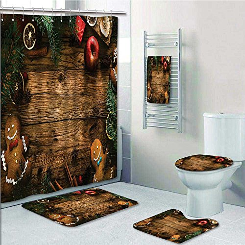 LiHomecurtain 5-piece Bathroom Set-Gingerbread Man Gift Box Pine Cinnam Dessert Rustic Wood Xmas Prints decorate the bathroom,1-Shower Curtain,3-Mats,1-Bath towel ()