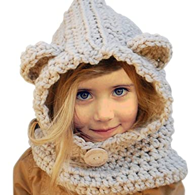 Yuccer Bonnet Hiver pour Bébé, Chapeaux Mignon Echarpe Calotte Enfants  Casquette Echarpe Capuche pour Filles cec7a9119f2