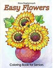 Easy Flowers Coloring Book for Seniors