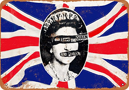 Wall-Color 7 x 10 METAL SIGN - 1977 Sex Pistols God Save the Queen - Vintage Look Reproduction by Wall-Color
