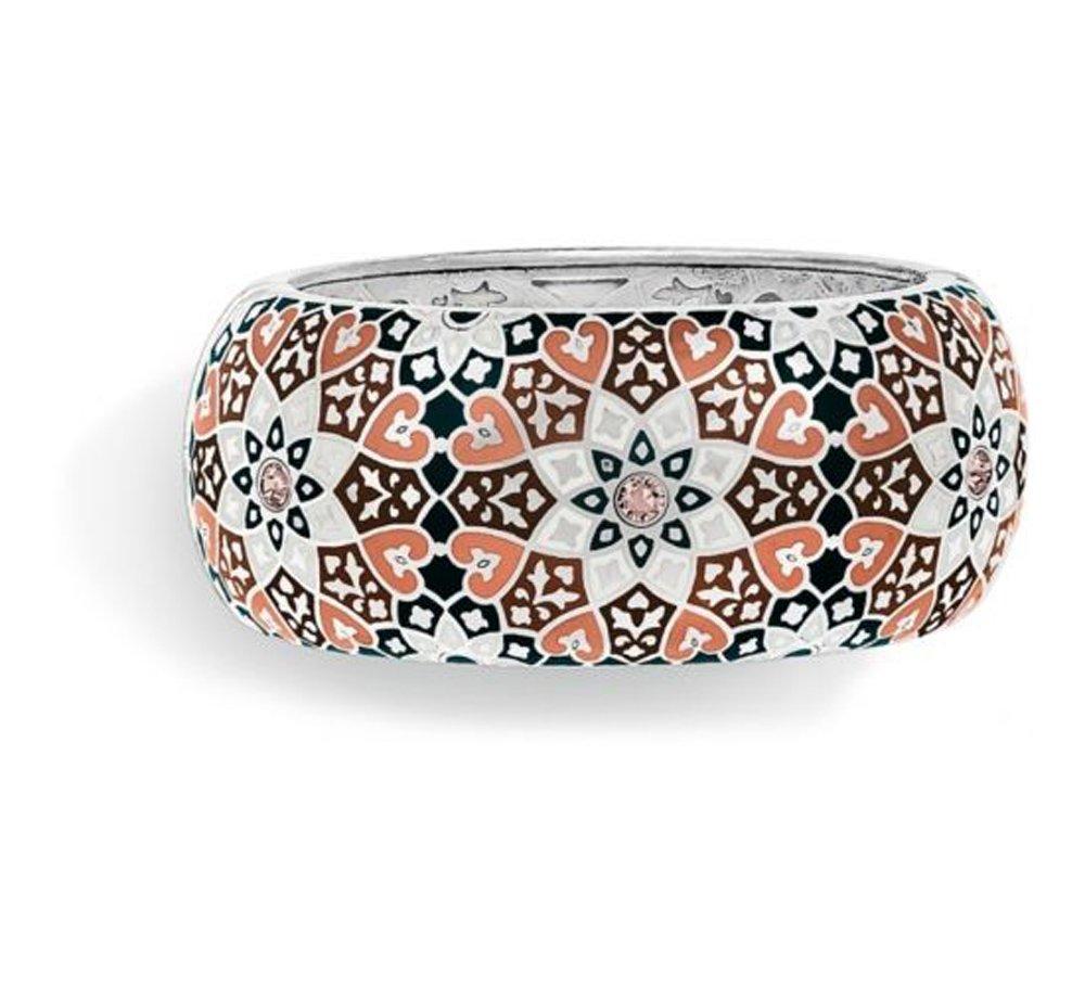 Brighton Zahra Love Silver and Pink Neutral Enamel Wide Bangle Bracelet