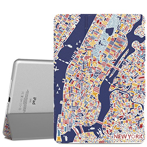 """MoKo Case for iPad Air 2 - Slim Lightweight Smart-shell Stand Cover with Translucent Frosted Back Protector for iPad Air 2 9.7"""" Tablet, New York City (with Auto Wake / Sleep, Not fit iPad Air)"""