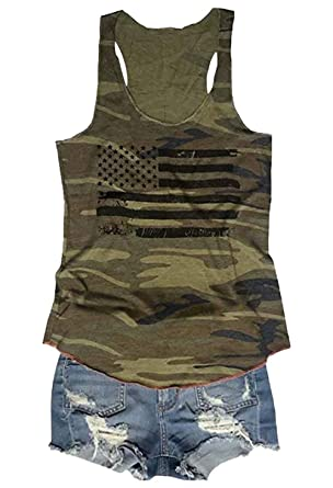 0df0dd917fb American Flag Print Camouflage Racerback Tank Tops Women 4th July Vintage  Summer Sleeveless Vest T Shirt Tee