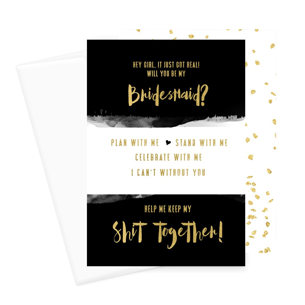 Will You Be My Bridesmaid Cards (6 Pack) I Can't Without You Maid of Honor (Black and Gold)