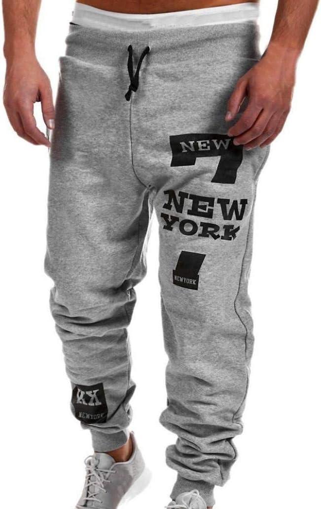 Hanyixue_Pantalones de hombre de largo, suelto, de algodón chándal Deportes del basculador Pantalones (termal del invierno de camuflaje otoño) De los hombres gris 2XL