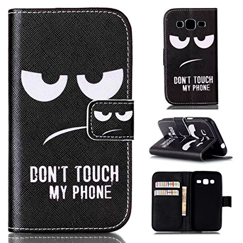 Galaxy Core Prime Case,UZZO Galaxy Core Prime G360 Wallet Case [Black Eye Funny Quote] Pattern Premium PU Leather Book Style Flip Cover for Samsung Galaxy Core Prime G360 ¨C Don¡¯t Touch My Phone