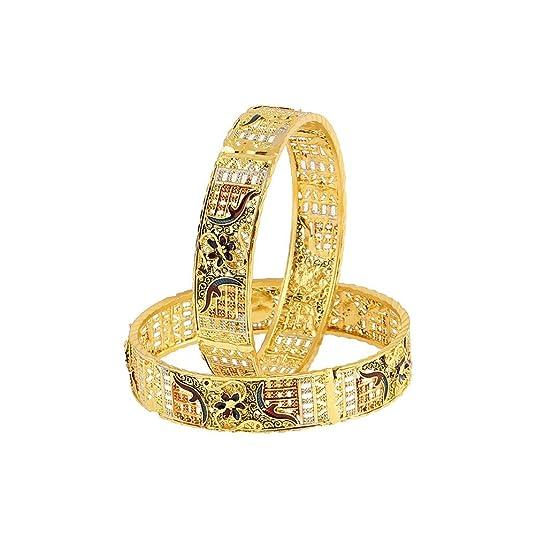 Zeneme Designer Precious Gold Plated Copper Bangle Set Jewellery for Women/Girls Bangles   Bracelets
