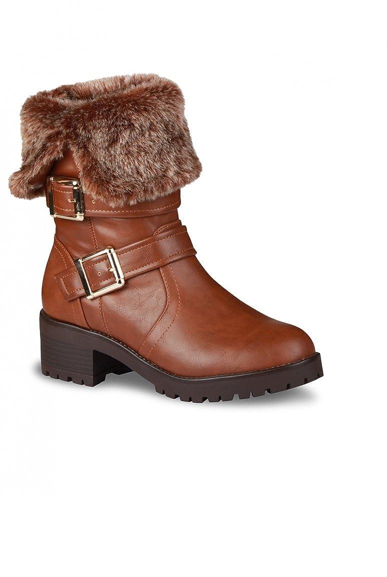 6273148fd89 Bottine Femme marron talon fourrure synthétique boucles - Marron - P-36   Amazon.fr  Chaussures et Sacs