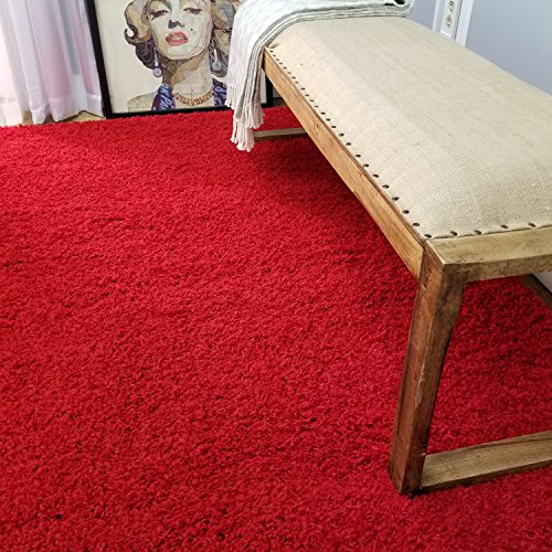Soft Shag Area Rug 5' x 7' (5 feet by 7 feet) Plain Solid Color RED Shaggy Rug - Living Bedroom Kitchen Modern Shaggy Rugs (Kitchen Red Solid Rugs)