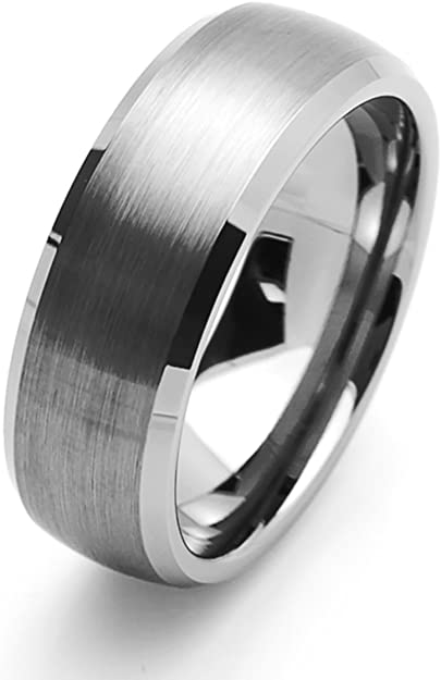 Prime Pristine Personalized Inside Engraving Tungsten Carbide Wedding Band Ring 8mm Beveled Edge Brushed Ring