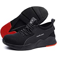 Men Women Safety Shoes,Mesh Breathable Lightweight Comfortable Steel Toe Industrial Construction Slip Resistant Shoes