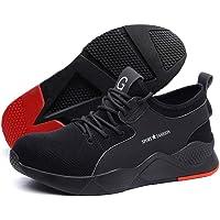 أحذية أمان للرجال والنساء، تصميم شبكي يسمح بالتنفس وخفيف الوزن ومريح. تصميم بجزء معدني عند إصبع القدم وبناء مقاوم…