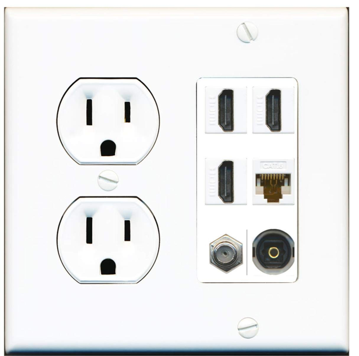15 Amp Round Power Outlet 3 Port HDMI 1 Cat6 Coax Cable TV Toslink Wall Plate