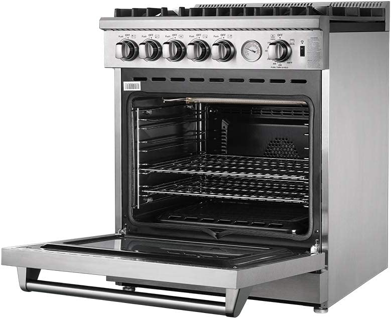 Oven FORNO Lseo 30 Inch 5-Burner Stainless Steel 70000 BTU Gas Convection Range with 4.23 Cubic Ft
